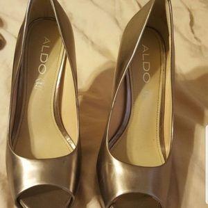 ALDO Metallic Silver Heels